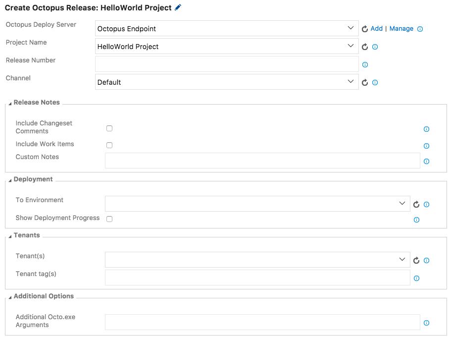 Configure Create Release Step
