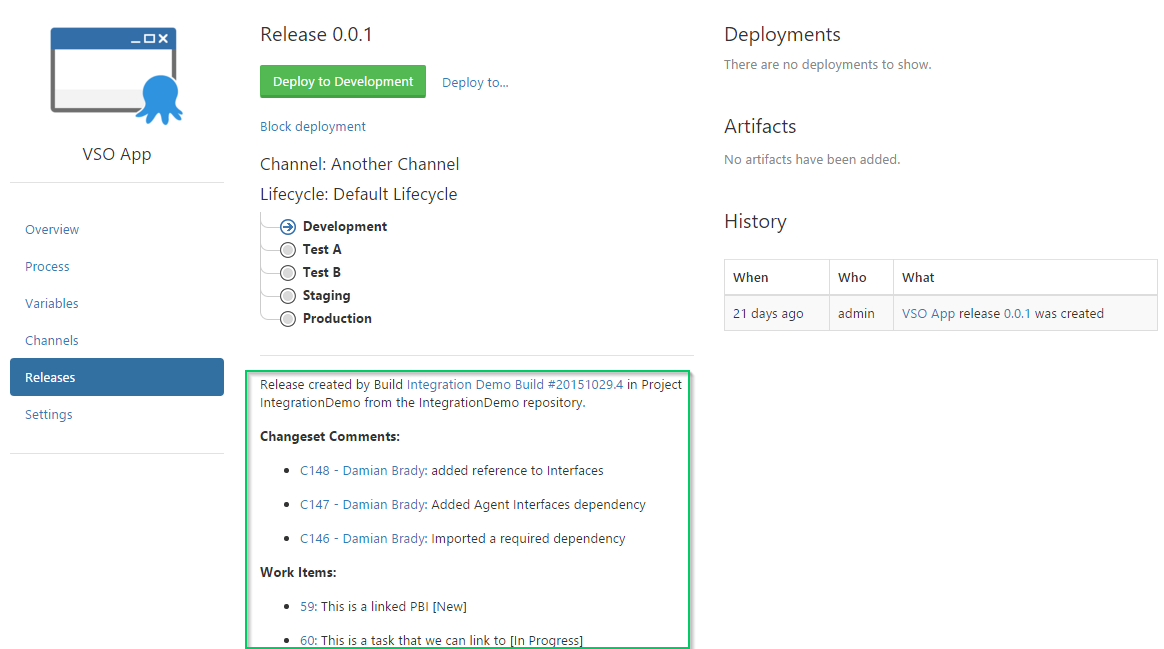 Release Notes in Octopus Deploy Release