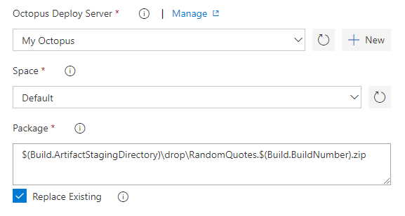 Configure Push Application Step